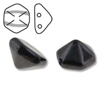 Pyramid Hex 2 Hole 12mm Jet Trav Blue 12 Czech Glass Beads