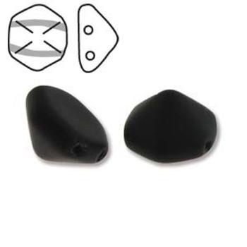 Pyramid Hex 2 Hole 12mm Jet Matt 12 Czech Glass Beads