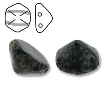 Pyramid Hex 2 Hole 12mm Jet Picasso 12 Czech Glass Beads