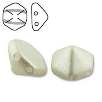 Pyramid Hex 2 Hole 12mm Pastel White  12 Czech Glass Beads