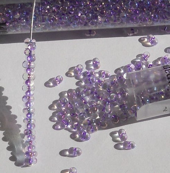 Purple Rainbow Inside Color 2x4mm 6/0 Peanut Farfalle Butterfly Seed Beads 23 Gram Tube
