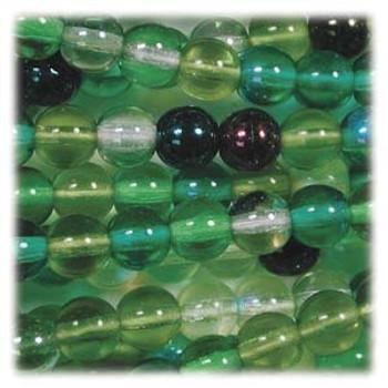 Evergreen Mix Czech 4mm Druk Round Glass Beads approx 100 beads