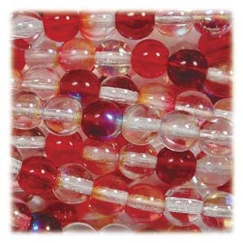 Strawberry Czech 4mm Druk Round Glass Beads approx 100 beads