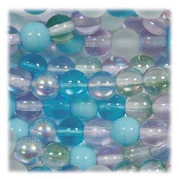Serenity Mix Czech 4mm Druk Round Glass Beads approx 100 beads