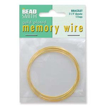 Memory Wire Gold Plate 2.25 Bracelet Wire 12 Loops