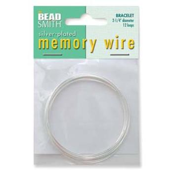 Memory Wire  Silver Plate  2.25 Bracelet Wire 12 Loops