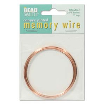 Memory Wire Bracelet 2.25 Copper Plate 12  Loops S