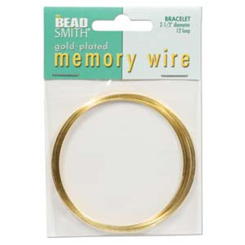 Memory Wire 2 1/2 Gold Plate -Bracelet 12 Loops