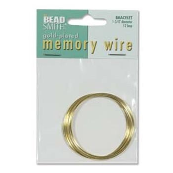 Memory Wire 1 3/4 12 Trn Gold Plate -Rnd Bracelet