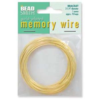 Memory Wire Bracelet 2.25 Gold Plate 1 0Z 70  Loops