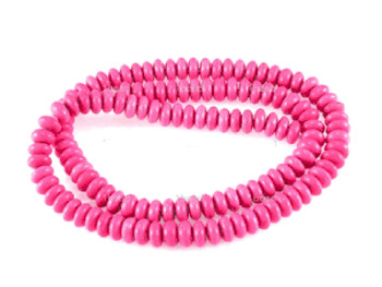 Pink 4mm Rondelle Chalk Turquoise Dyed/Stabilized Beads