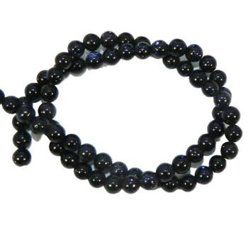 "6mm Manmade Blue Goldstone Round Beads 40Cm 15"" Stone B1-6D25"