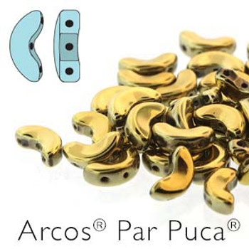 Full Dorado Arcos Par Puca Cresent Moon 3-Hole 30 Czech Glass Beads