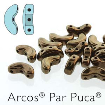 Dark Bronze Gold Arcos Par Puca Cresent Moon 3-Hole 30 Czech Glass Beads