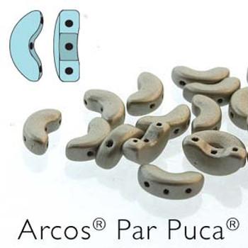 Metallic Matte Beige Arcos Par Puca Cresent Moon 3-Hole 30 Czech Glass Beads