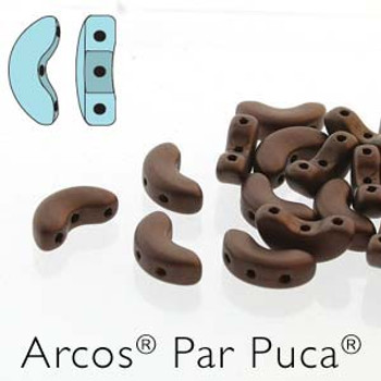 Dark Bronze Matte Beige Arcos Par Puca Cresent Moon 3-Hole 30 Czech Glass Beads