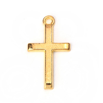 50 Pendant Beads Charms 1 Inch Cross Gold Plated Zinc 1x1/2 Inch