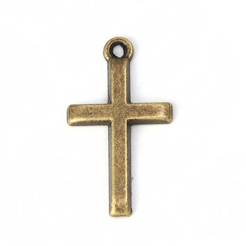 50 Pendant Beads Charms 1 Inch Cross Antique Gold Brass Plated Zinc 1x1/2 Inch