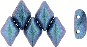 Gemduo 8x5mm Polychrome Indigo Orchid 2-Holes Diamond Shape Beads, 30 Beads