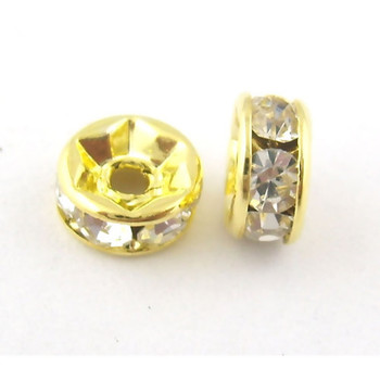 25 Clear Gold Plated Rhinestone 6mm Rondelle Spacer Beads 1mm Hole 40 Rb00509-40