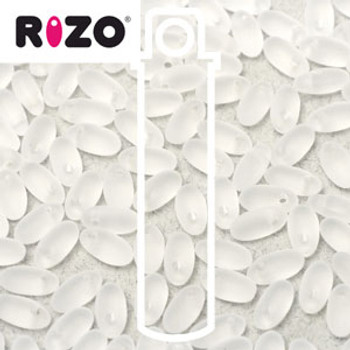 Cleare Matte 2.5x6mm Rizo Beads Czech Glass Seed Beads 22 Gram Tube Rz256-03000-25121-Tb