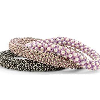 Kit Chenille Stitch Bangle Bracelet randum colors Patern and beads
