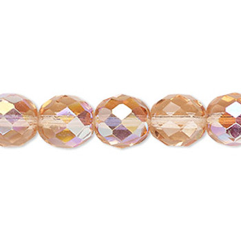 """Light Rose Ab Czech 10mm Faceted Round FirePolished Glass Beads 16"""" H20-2357Gl"""