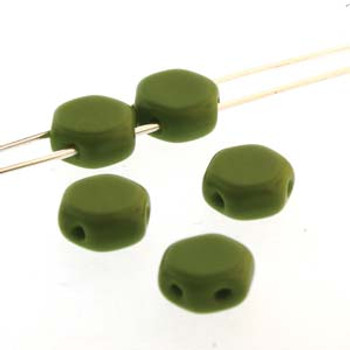 Wasabi Green 30 Loose Beads 6mm 2-Hole Czech Glass Honeycomb Beads