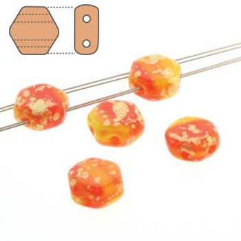 Splash Hodge Poge Orange 30 Loose Beads 6mm 2-Hole Czech Glass Honeycomb Beads