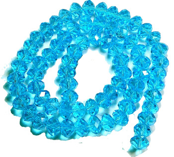 Dark Aqua Faceted 8mm Rondelle Beads 70 Piece Luster Glass Crystal Beads B2-Uc3A26