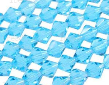 """8mm Aquamarine Crystal Faceted Bicone 40 Beads (Approx.11"""") uc23a26"""
