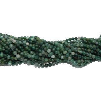 "6mm Moss Agate Round Beads 40Cm 15"" Gemstone B2-6D3"