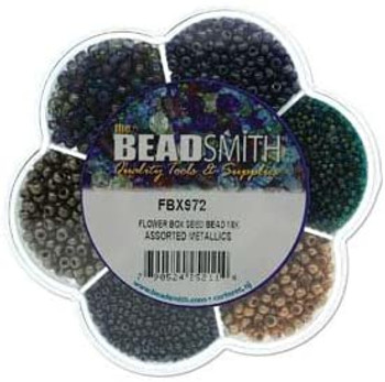 Czech Seed and Bugle Bead Mix METAL Flower Box Glass Seed Beads