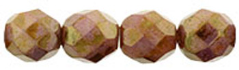 Luster - Opaque Rose/Gold Topaz 8mm FirePolished Glass 24 Beads