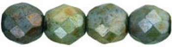 Luster - Opaque Green 8mm FirePolished Glass 24 Beads