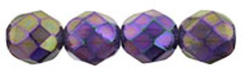 Luster Iris - Tanzanite 8mm FirePolished Glass 24 Beads