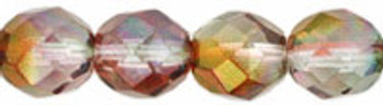 Luster - Pink/Crystal 8mm FirePolished Glass 24 Beads