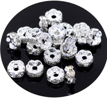 50 Clear Silver Plated Rhinestone Rondelle 8mm Spacer Beads 1.8mm Hole 50 Rb00508-50