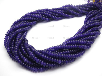 Amethyst 4mm Dyed Gemstone Rondelle Beads 15 Inch Loose