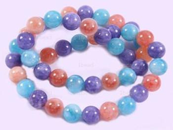 "8mm mix Dyed Jade Round Beads 40 Cm 15"" Gemstone"
