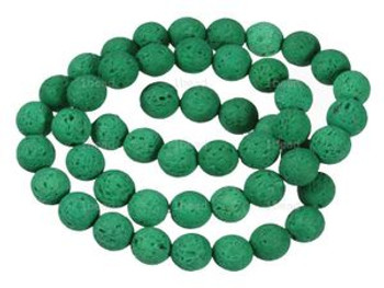 "Green Dyed 8mm Volcanic Lava Rock Natural Round Beads 40Cm 15"" Stone"