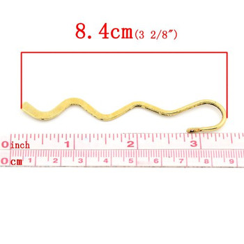 "20 Beading Wavy Bookmarks Brass Tone 3 2/8""x 5/8, 3.4mm Hole"