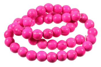 Pink 6mm Round Chalk Turquoise Dyed/Stabilized Beads 15 inch strand
