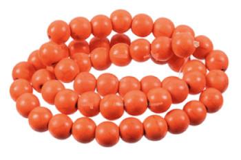Orange 6mm Round Chalk Turquoise Dyed/Stabilized Beads 15 inch strand