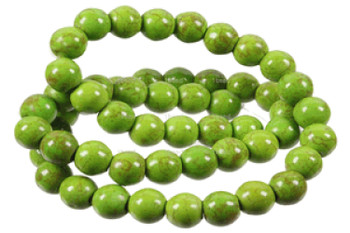 Green 6mm Round Chalk Turquoise Dyed/Stabilized Beads 15 inch strand