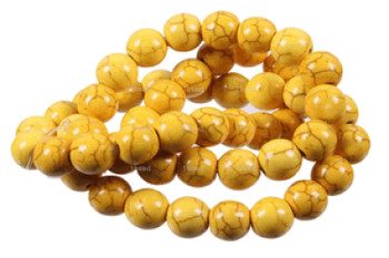 Yellow 6mm Round Chalk Turquoise Dyed/Stabilized Beads 15 inch strand