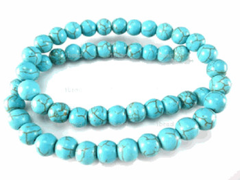 Blue 8mm Round Chalk Turquoise Dyed/Stabilized Beads 15 inch strand