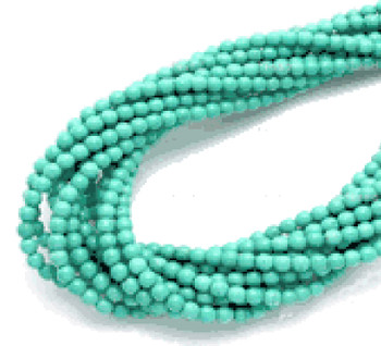 Sea 3mm Round Chalk Turquoise Dyed/Stabilized Beads