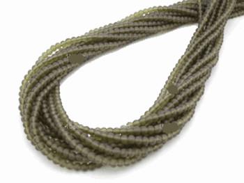 3mm Round Matte smoke Glass Beads 15 Inch Loose Strand approx 100 beads