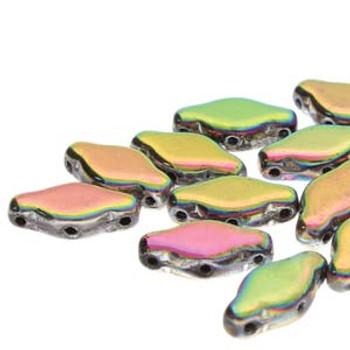 15 NAVETTE 6X12MM JET FULL VITRAIL Czech Glass 3 hole Beads